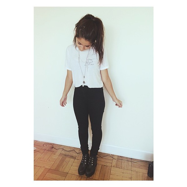 jeans andrea russett t-shirt white t-shirt shoes black pants high waisted jeans shirt whiteshirt