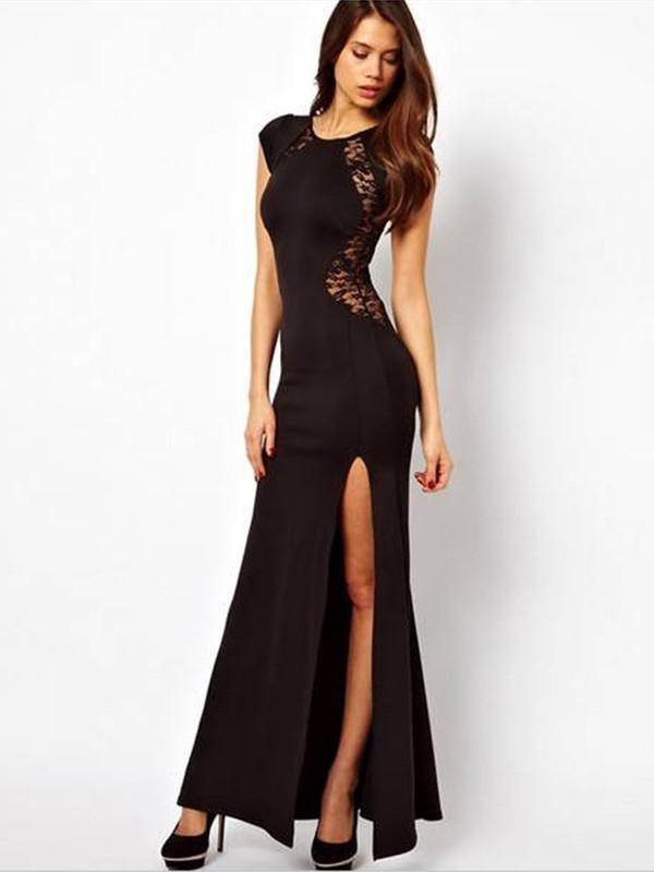 maxi dress gown black dress lace dress