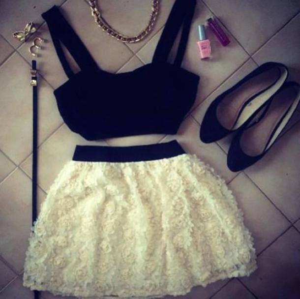 shirt crop skirt