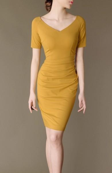 Yellow Elegant Noble Summer OL Slim V-neck Women Fashion Dress lml7026 - ott-123 - Global Online Shopping for Dresses