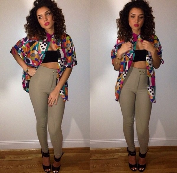 shirt colorful 80s style tube top curly hair khaki high wasted pants novalabelle jeans cardigan pants blouse high waisted pants grey pants skinny pants