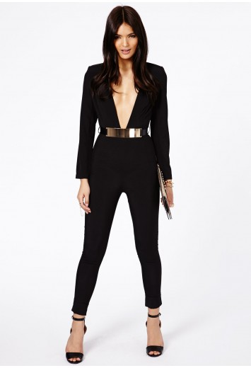 Kalua V Neck Jumpsuit With Belt - Jumpsuits & Playsuits - Clothing - Missguided | Ireland