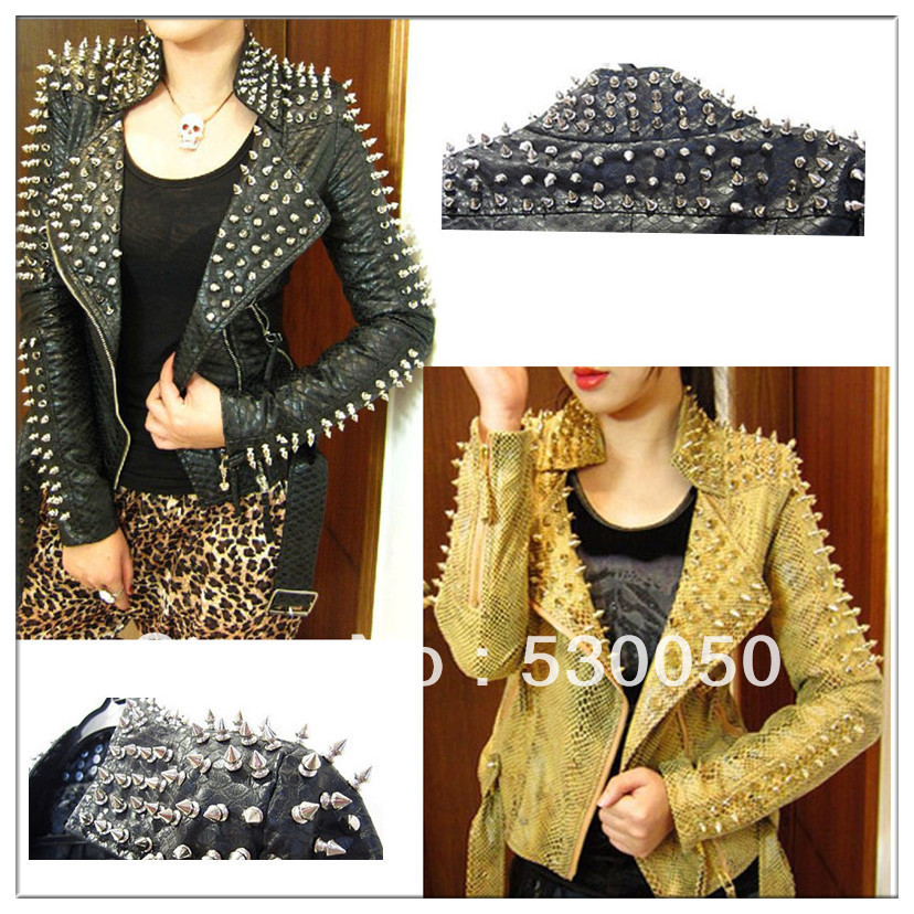 Strong studs and spikes short snake pattern PU PUNK LEATHER JACKET zipper shoulder rivets outwear for women autumn winter 2013-in Leather & Suede from Apparel & Accessories on Aliexpress.com
