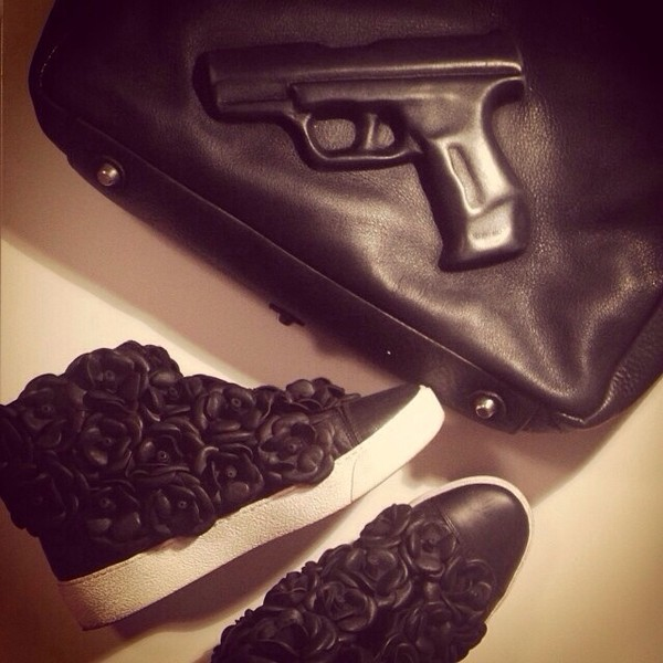 bag gun gun bag black shoes black leather sneakers floral sneakers texture all black everything givenchy funny gangsta roses basic