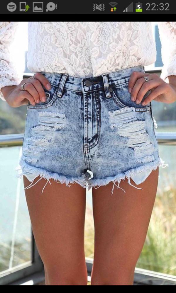 shorts lace jeans denim ripped shorts High waisted shorts denim shorts tumblr cute