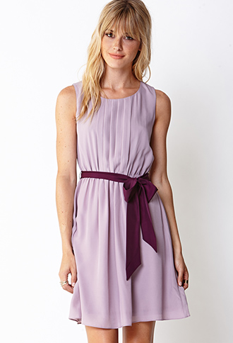 Sweet Side Pleated Dress w/ Sash   FOREVER21 - 2031557849