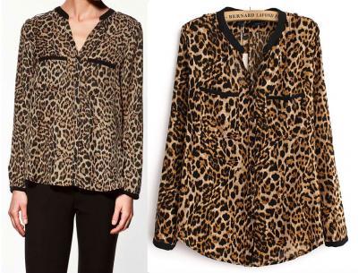 Leopard Print Double Pocket Shirt