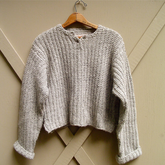 90s vintage Abercrombie and Fitch Stormy Grey  Woolen Knit Oversized Cropped Sweater ($65.00) - Svpply