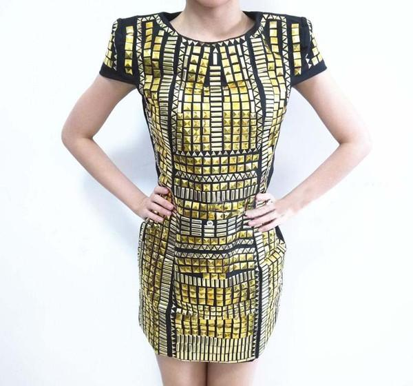 dress gold dress metal dress clothes clothes