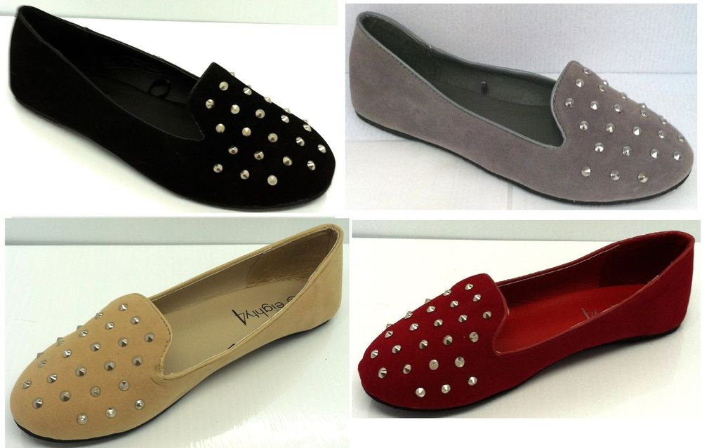 Womens Faux Suede Studded Loafer Smoking Ballet Flats Black Nude Red | eBay