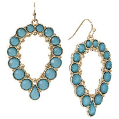 Women's Open Tear Drop Earrings with Cabochon - ... : Target