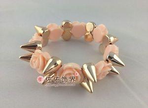 Hot Ladies Pink Resin Rose Spike Rivet Bracelet Bangle Elastic Adjustable | eBay