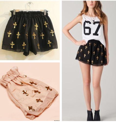 Sequins Charms Latin Cross Pattern Chiffon Skirt Divided Culottes Pants Shorts   eBay