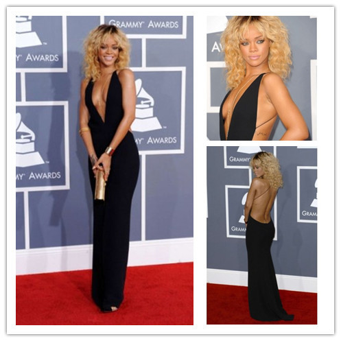 Custom Made Backless Sleeveless sheath Sexy deep v neck Rihanna Celebrity Red Carpet Dress-in Celebrity-Inspired Dresses from Apparel & Accessories on Aliexpress.com