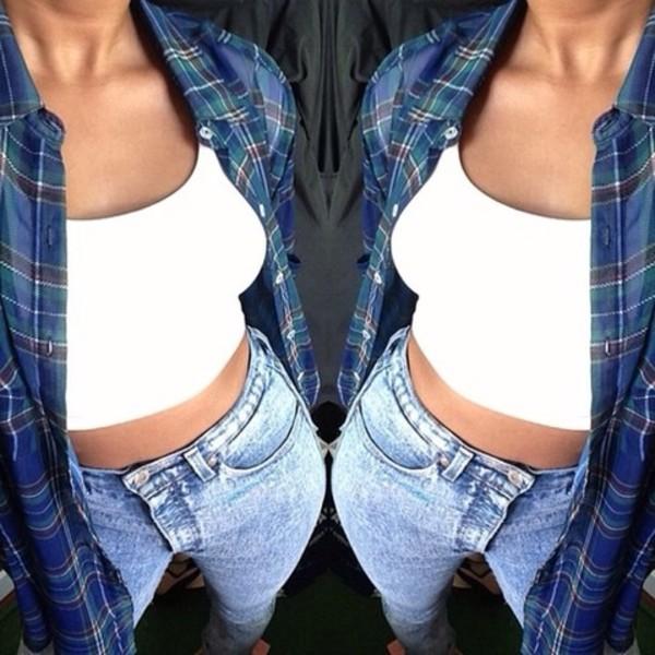 t-shirt flannel shirt white tank top jeans blouse white tank top tumblr clothes boy blue shirt light blue