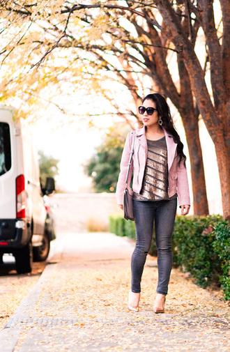 cute & little blogger jacket top tank top jeans shoes bag sunglasses jewels pink jacket shoulder bag skinny jeans high heel pumps