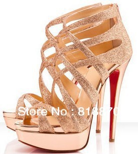 Free Shipping 2013 Cheap Red Bottom sandal Gladiator Glitter Cross High Heel Sandals Fashion Celebrity Sandals-in Sandals from Shoes on Aliexpress.com
