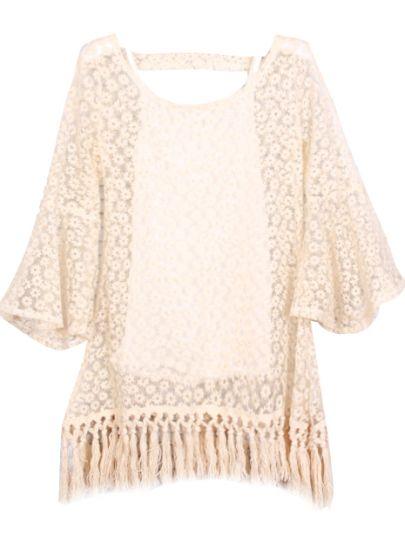 Apricot Ruffle Sleeve Lace Embroidery Tassel Dress - Sheinside.com