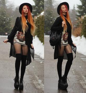 shoes grunge goth nu goth platform boots platform shoes boots hipster pirate boots cardigan skirt hat