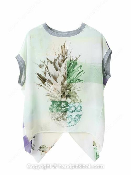 White Round Neck Short Sleeve Pineapple Print T-Shirt - HandpickLook.com