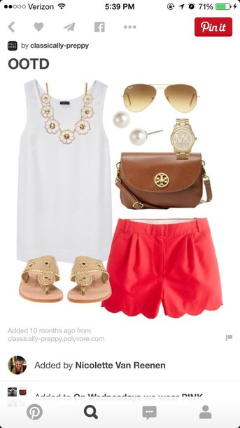 shorts red red shorts cute preppy fashion summer shorts summer spring