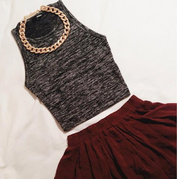 skirt crop tops gold chain shirt jewels