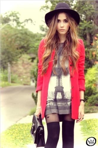 paris dress fashion style tunic print eiffel tower coat