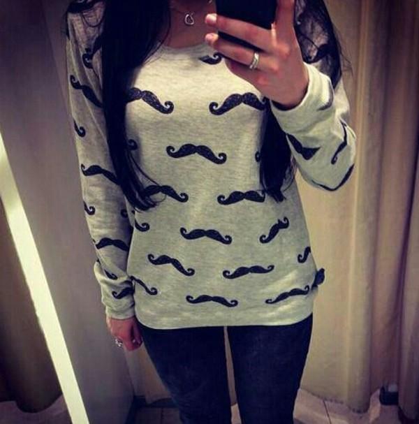 sweater moustache winter sweater