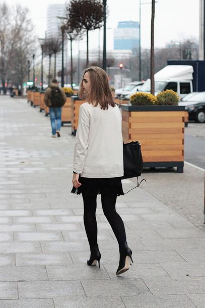 so in carmel blogger jumper black skirt coat sweater skirt bag jewels shoes