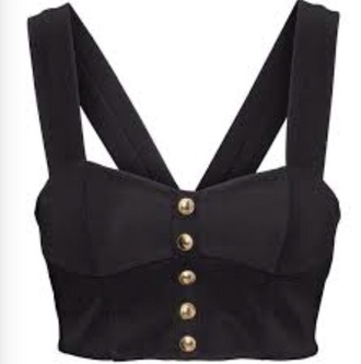 top crop tops black crop top gold buttons