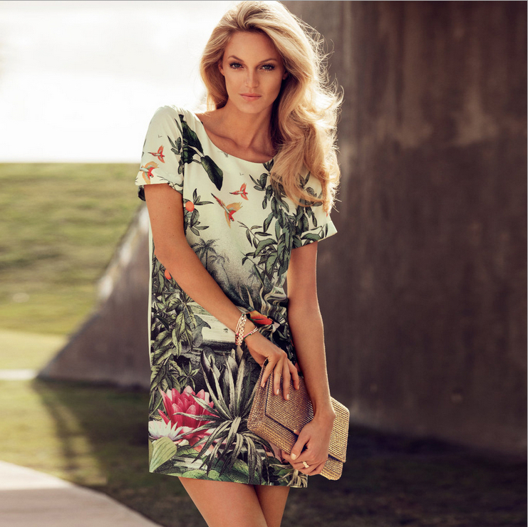 Free Ship 2013 Summer New Euramerican Fashion The Tropical rainforests Cartoon Paint Short sleeve dresses Clothing Sets-in Dresses from Apparel & Accessories on Aliexpress.com