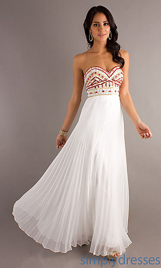 Strapless Pleated Prom Gowns, White Prom Dresses - Simply Dresses