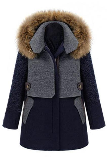ROMWE | Color Block Detachable Hood Woolen Coat, The Latest Street Fashion