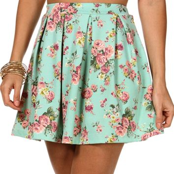 Mint Pleated Floral Skirt on Wanelo