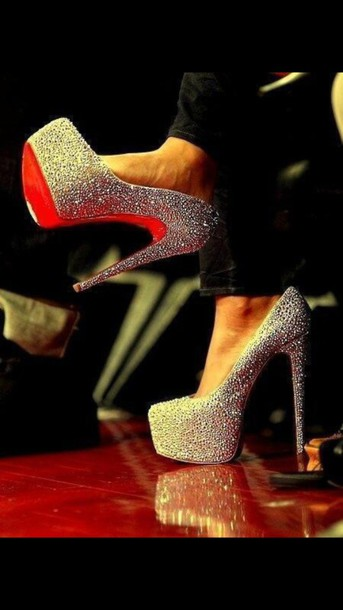 shoes red bottoms silver shoes