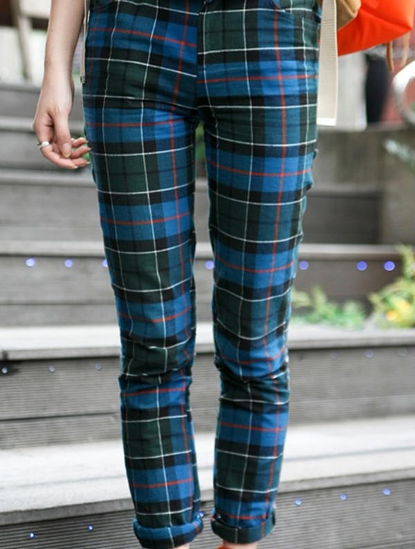 jeans pants pants tartan tumblr