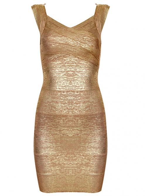 Gold Cap-Sleeve Bandage Dress H286G$119