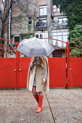 atlantic pacific blogger camel coat winter coat cape winter outfits umbrella wellies striped dress coat dress shoes