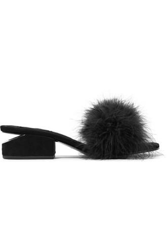 embellished mules suede black shoes