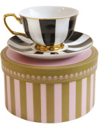 Ebony And Ivory Stripe Teacup & Saucer | David Jones