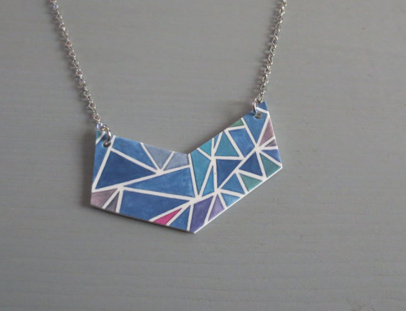 Chevron  Geometric Print Color Block Statement Resin by InfinEight