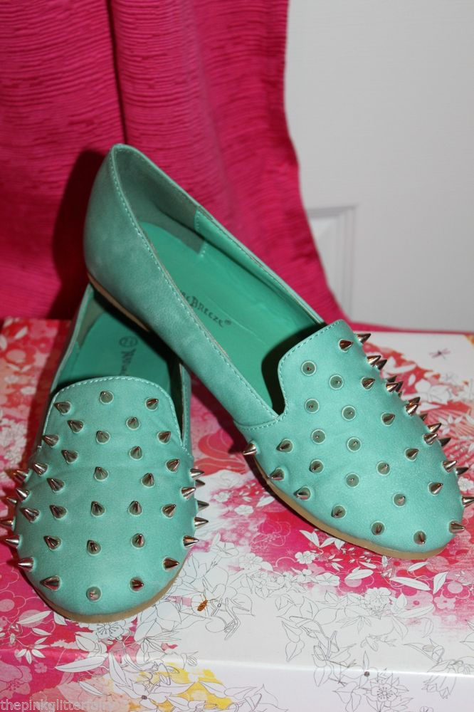 "Nature Breeze ""Leila"" Sea Green Spiked Spike Studded Ballet Flats Shoes Sz 7   eBay"