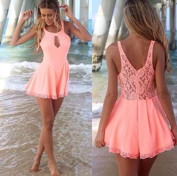 romper coral short dress summer dress cut-out dress lace dress