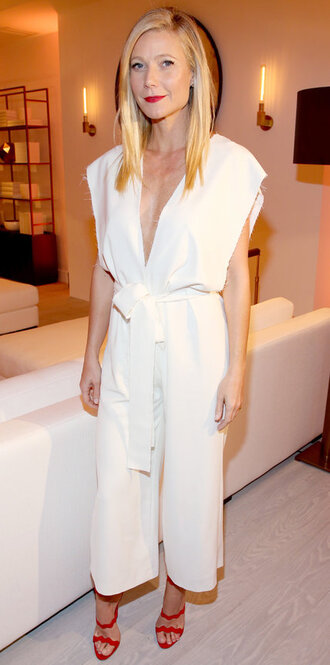 shoes white top sandals sandal heels gwyneth paltrow jumpsuit white white pants plunge v neck