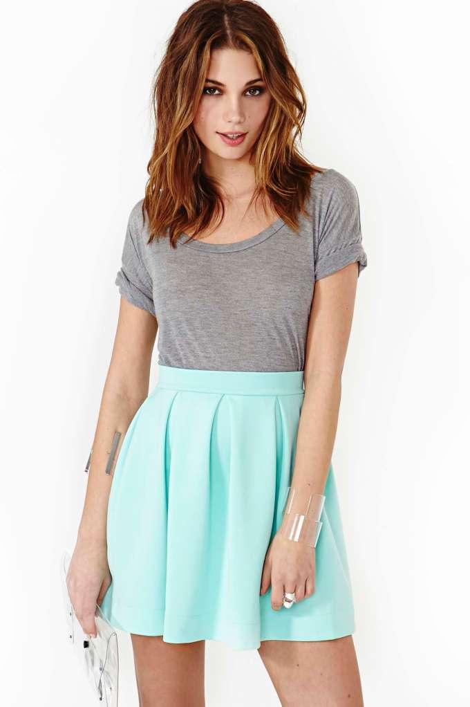 Scuba Skater Skirt - Mint | Shop Clothes at Nasty Gal