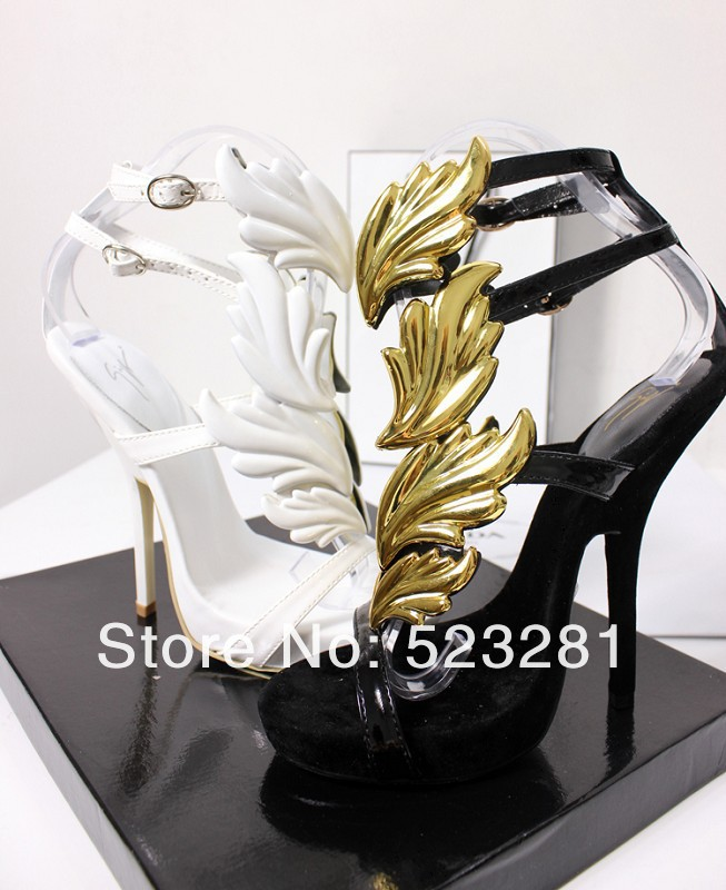 Brand 2013 Giuseppe GZ For Women Wedges  Design Gold Leaf Embellished High Heels Pumps Wings Ankle Strap Flat Sandals GG3007-in Flats from Shoes on Aliexpress.com