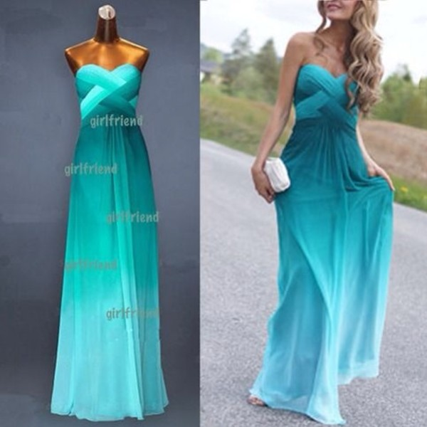 ombre dress teal turquoise bustier dress sweetheart dress sweetheart prom dress prom criss cross long dress formal dress homecoming dress homecoming chiffon dress homecoming dress dress