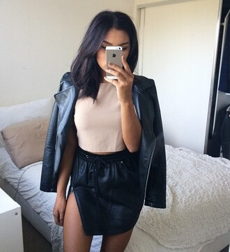skirt leather faux