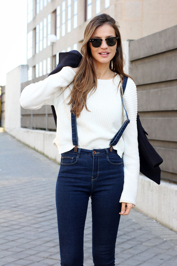 lady addict jeans jacket sweater shorts shoes blue jeans high beautiful high waisted jeans bretelle
