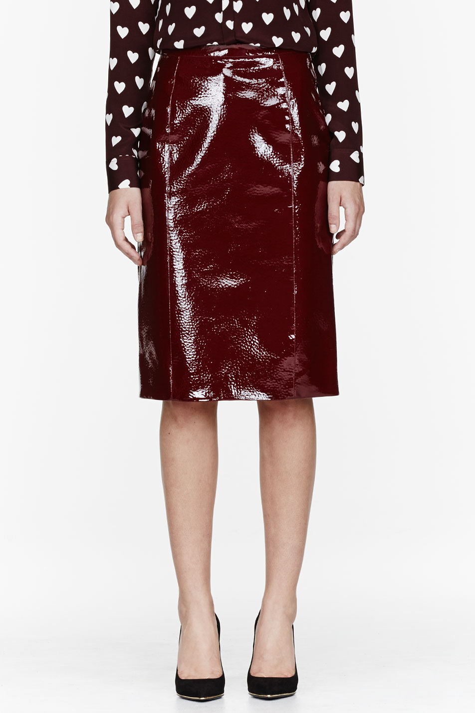 burberry prorsum red patent leather and silk skirt